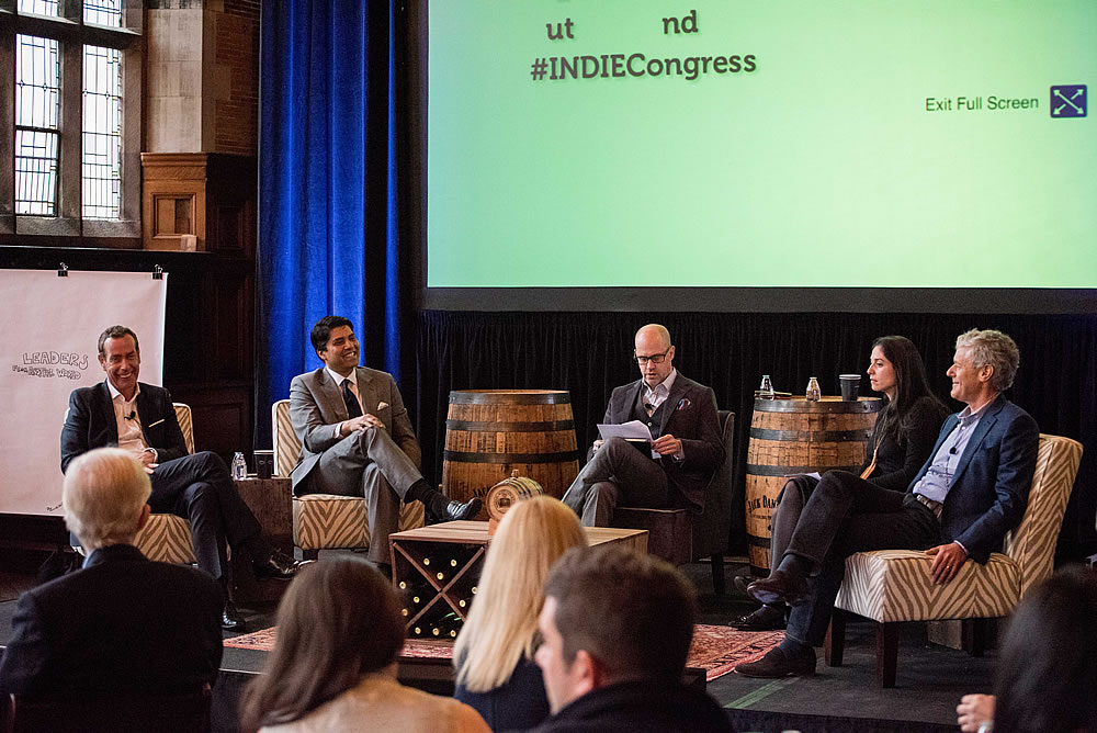Bill Walshe of Viceroy Hotel Group, Naveen Kakarla of HHM, Andrew Benioff of ILC, Jacqui Gifford of Travel + Leisure, and Mark Harmon of Auberge Resorts Collection at ILC 2016.
